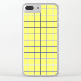 Grid Pattern - yellow and blue - more colors Clear iPhone Case