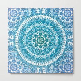 Aquamarine Mandala Pattern Metal Print