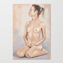 Nude Seated on Floor Canvas Print