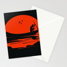 fisherman silhouette Stationery Cards