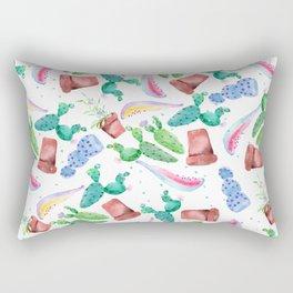 Colorful pink green lilac watercolor cactus Floral Rectangular Pillow
