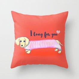 Valentine's Day dachshund dog Throw Pillow