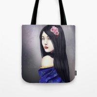 geisha Tote Bags featuring Geisha by Gosia