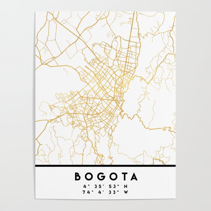 BOGOTA COLOMBIA CITY STREET MAP ART Poster by deificusart | Society6