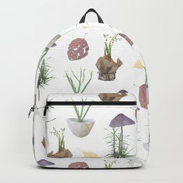 Mushrooms, spurge, horsetail, lily of the valley, leaves. Backpack