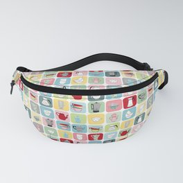 Retro Coffee Pots and Cups Pattern Fanny Pack