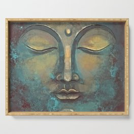 Rusty Golden Copper Buddha Face Watercolor Painting Serving Tray
