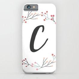 Floral Initial Wreath Monogram C iPhone Case