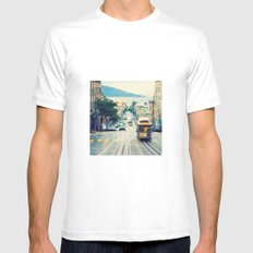 San Francisco Cable Car MEDIUM White Mens Fitted Tee