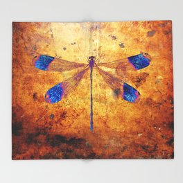 Dragonfly in Amber Throw Blanket