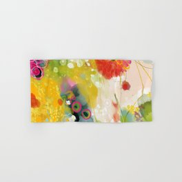abstract floral art in yellow green and rose magenta colors Hand & Bath Towel