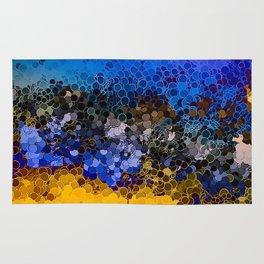 Blue and Summer Gold Circular Abstract Art Rug