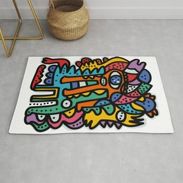 Graffiti Pre Colombian Street Art Cool Creatures Rug
