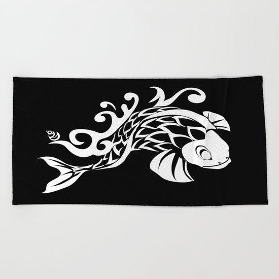 BK WHT KOI FISH LOGO Beach Towel