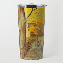 Asano Takeji Japanese Woodblock Print Vintage Mid Century Art Autumn Trees Shinto Shrine Travel Mug