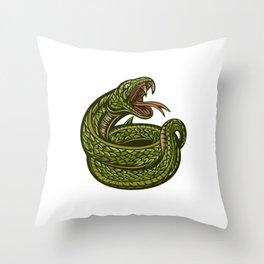 Green Snake Illustration Open Mouth Throw Pillow