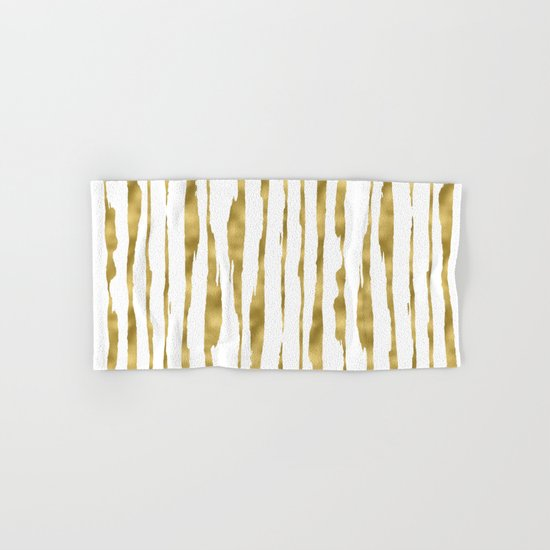 Small uneven hand painted gold stripes on clear white - vertical pattern Hand & Bath Towel