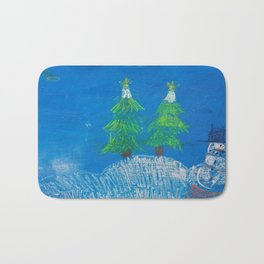Winter night Bath Mat