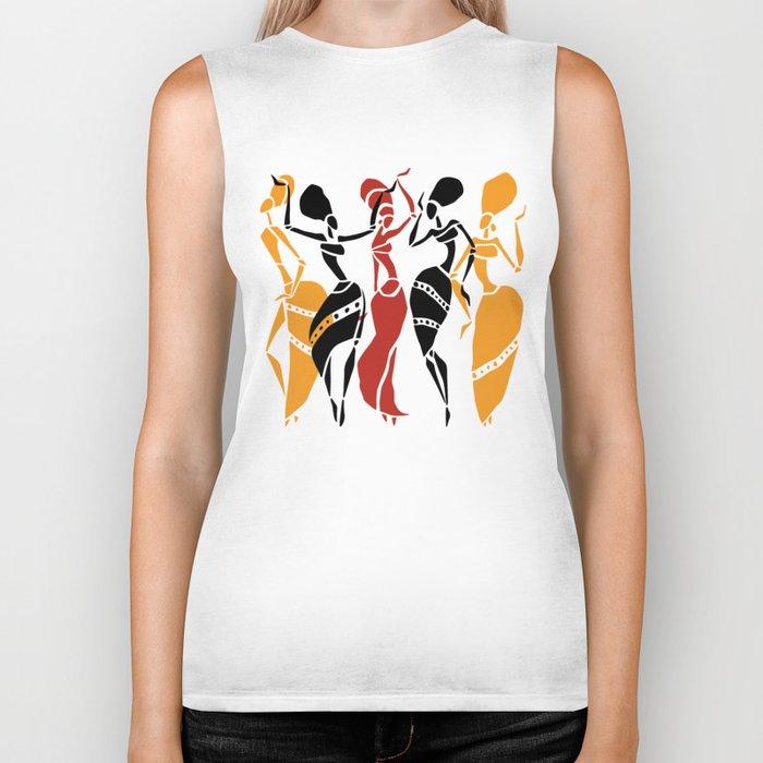 Abstract African dancers silhouette. Figures of african women. Biker Tank