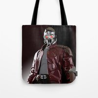star lord Tote Bags featuring Star Lord Fan Art by Vito Fabrizio Brugnola