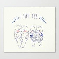 I like you cat Canvas Print