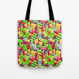 Abstract Geometric Hi-Tech Background with Colorful 3D Objects on Black Tote Bag