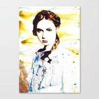 amy pond Canvas Prints featuring Karen Gillan (Amy Pond) by TheJollyRambler