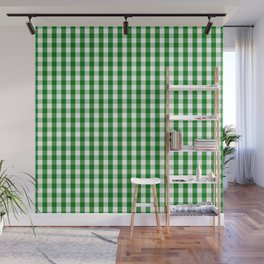 Christmas Green Gingham Check Wall Mural