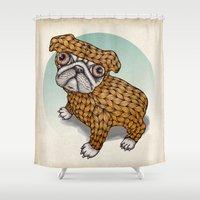 puppy Shower Curtains featuring PUPPY by evafialka