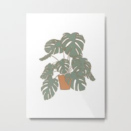 Boho Terracotta Plant Metal Print