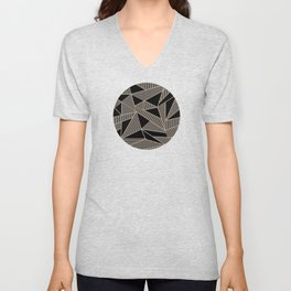 Geometric Abstract Origami Inspired Pattern Unisex V-Neck