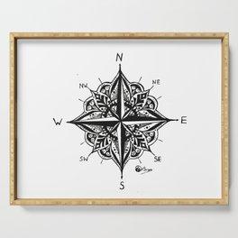 """Mandala Compass Rose"" Original Directional Compass Art Serving Tray"