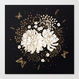 Hand drawn vintage bouquet flower on dark background illustration Canvas Print