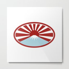 Rising Sun With Snow Capped Mountain Icon Metal Print