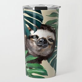 Sneaky Sloth with Monstera Travel Mug