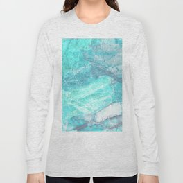 Marble Turquoise Blue Agate Long Sleeve T-shirt