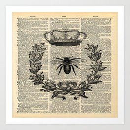 Paris french  garden farmhouse beekeeper honey bee queen Art Print