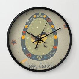 Festive Easter Egg with Cute Bird Wall Clock