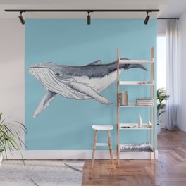 Baby humpback whale blue for boys and baby room Wall Mural