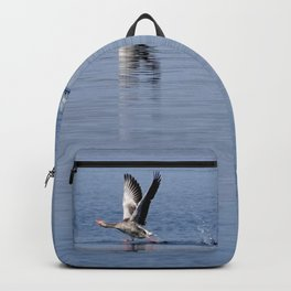 Greylag goose running on water Backpack