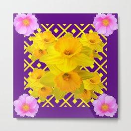 Wild Roses Gold Daffodil Purple Pattern Metal Print