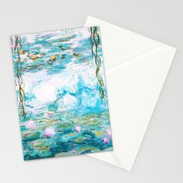 Water Lilies Monet Aqua Turquoise Stationery Cards