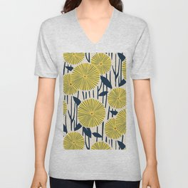 vintage, retro yellow, red and navy flower pattern Unisex V-Neck