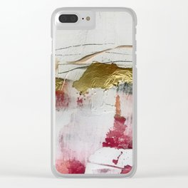 Untranslated Stars: a minimal, abstract piece in gold, pink, and white by Alyssa Hamilton Art Clear iPhone Case