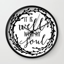 It is well with my soul wreath Wall Clock