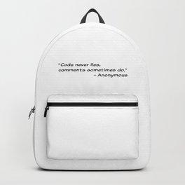 Code never lies Backpack