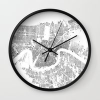 new orleans Wall Clocks featuring NEW ORLEANS by Maps Factory