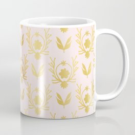 Luxe Rose Gold Foil Floral Lattice Seamless Vector Pattern, Drawn Damask Coffee Mug
