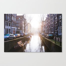 AMSTERDAM / Winter Sunrise on the Canals Canvas Print