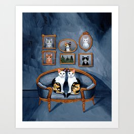 The Calico Twins Blue Room Art Print
